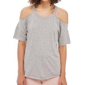 TOPSHOP Gray Cold Shoulder T-Shirt